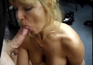 classic golden-haired cougar sucks rod