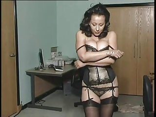 Amazing Brunette Lingerie  Office Panty Secretary Stockings Stripper Vintage