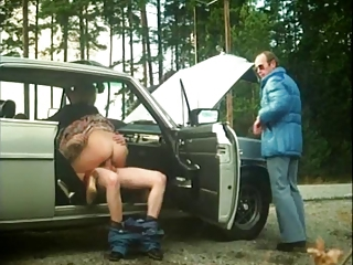 Car Clothed Cuckold Outdoor Riding Vintage Wife