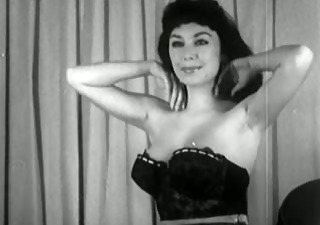 vintage brunette hair strip tease - darksome and white titties