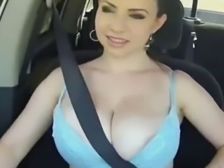 Amazing Big Tits Car