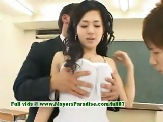 Asian Babe Brunette Cute Japanese School Teen Threesome