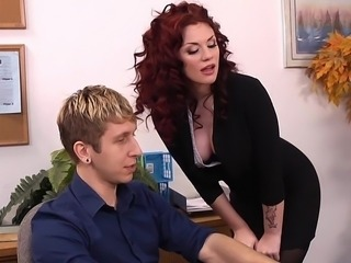 Amazing Cute  Office Pornstar Redhead