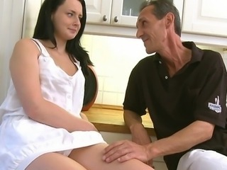 This old man teaches the young babe how to fuck and suck