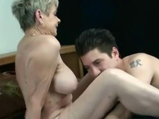 Hot Granny Smoking Blowing and Riding