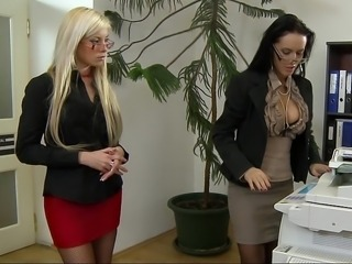 Amazing Cute Glasses Lesbian MILF Office Pornstar Secretary Skirt