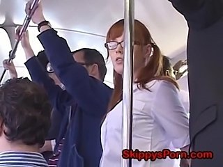 Asian Bus Glasses Japanese Pigtail Public School Teen
