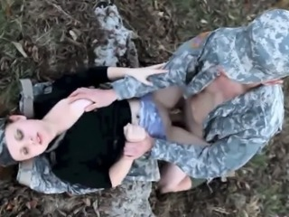 Army Babe Clothed Hardcore Outdoor Uniform