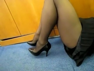 Pantyhose Show in the Office
