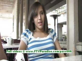 April gorgeous brunette teenage public flashing tits