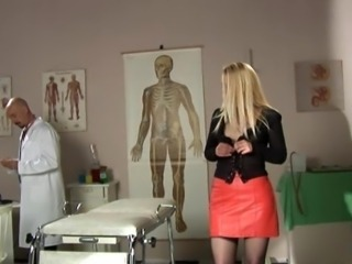 Amazing Blonde Doctor  Skirt Stripper