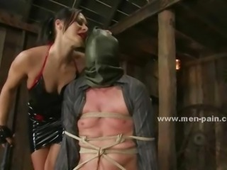 Beautifull pornstar mistress giving a nasty time to man in dominatinon sex...