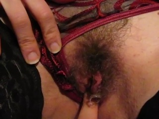 Clit Close up Hairy Masturbating Panty Pussy Stockings