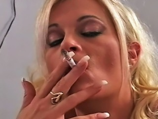 Blonde  Pornstar Smoking