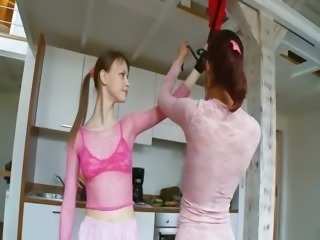 Bondage Cute Fishnet Kitchen Lesbian Russian Teen Toy