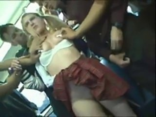 Blonde Bus Gangbang Natural Pigtail Skirt Student Teen