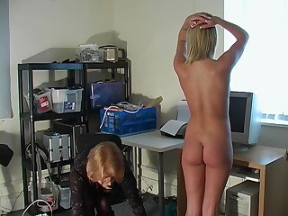 Office Pain Spanking Teen
