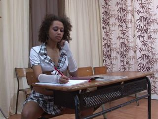Cute Ebony Skirt Student Teen