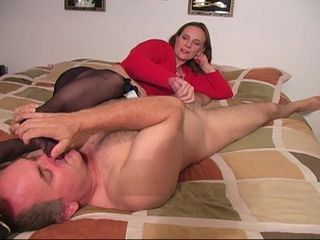 Sniff my pantyhose feet with the addition of I will give you a handjob! CFNM