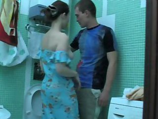 Girl seduced own bro in bathroom