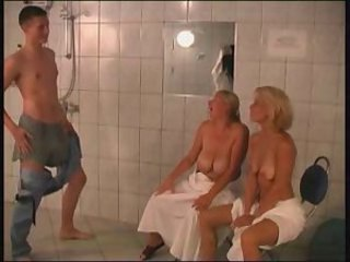 Mature Mom Old and Young  Showers Threesome