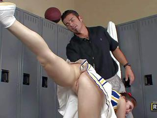 Ashlyn Rae Is A Cheerleader In Uniform But With No Panties. She Does S...