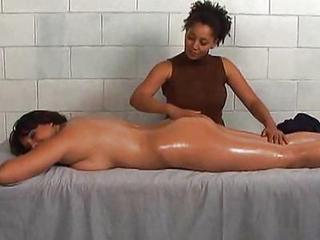 Interracial Lesbian Massage  Oiled