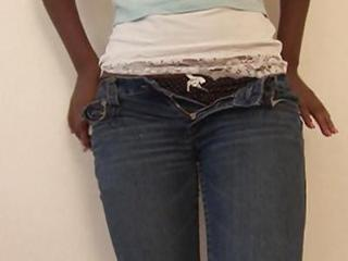 Ebony First Time Jeans Stripper Teen