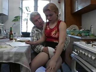Amateur Daddy Daughter Kitchen Old and Young Pigtail Teen