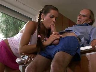 Amazing Blowjob Cute Daddy Daughter Old and Young Pigtail Skirt Teen