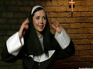 Babe Cute Double Penetration Hardcore Nun Uniform