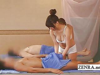 Busty Japan Sauna Lady Handjob Rub down