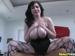 Brunette Beverly Paige With Massive Naturals Wears Sexy Fishnets And T...