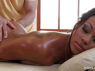 Super-beautiful Leilani Leeane Gives Mick Blues Massage Technique A Try And Gets Turned On. Shes Naked With Her Face Down Enjoying Relaxing Massage. Exotic Babe With Tattooed Back Gets Her Round Ass Rubbed By Hot Guy Who Spreads Her Ass Cheeks Gently To H