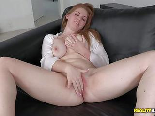Bre Pheonix With Juicy Big Natural Tits Rubbed Her Shaved Pink Pussy With Her Legs Apart When Ramon Nomar Showed Up. He Grabbed Her Nice Soft Tits. And She Stroked Her Snatch Non-stop!
