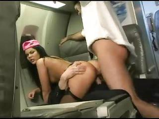 Stewardess In Satin Fucked On Plane
