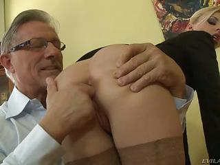 Elegant Bare Ass Blonde Jessie Volt In Stockings And Short Skirt Gets Her Asshole Finger Fucked By Curious Older Man. He Spreads Her Buttocks Before Filling Her Hole With Finger.