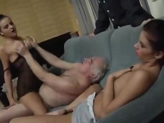 Two ladies let chubby old guy have them
