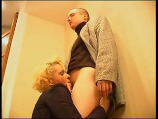 Russian in pantyhose likes young cock