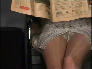 Pantyhose upskirt no panties...