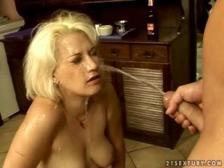 Lusty granny in cool pissing ...