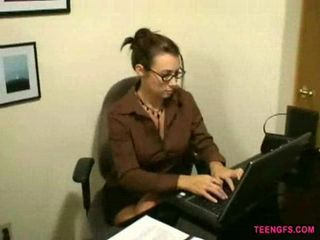Pretty secretary with glasses...