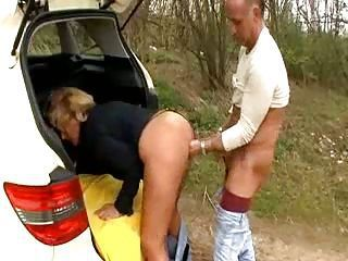 Sex with mature slut on the road