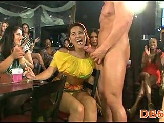 Girls suck stripper dick at hot party