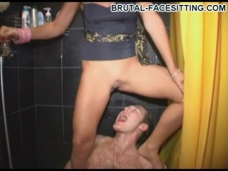 Babe rides his face and pisses...