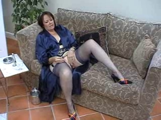 Masturbating Mature Solo Stockings