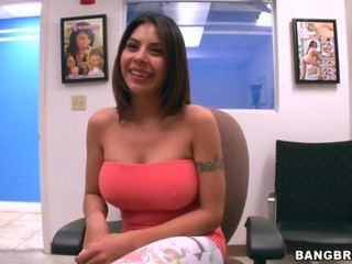 Amazing Big Tits Casting Latina  Natural Tattoo
