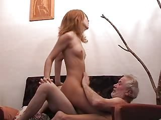Daddy Daughter Old and Young Riding Skinny Small Tits Teen