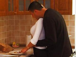 Busty Blond Teen Gets A Kitchen...