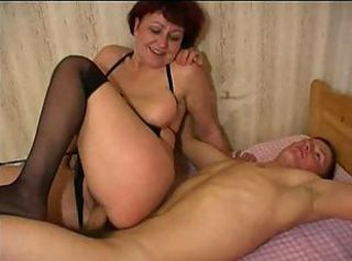 Amateur Mature Mom Old and Young Riding  Stockings